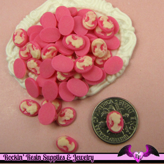 10 pcs Tiny VICTORIAN LADY CAMEO in Pink Nail Art Resin Flatback Cabochon 8x6mm