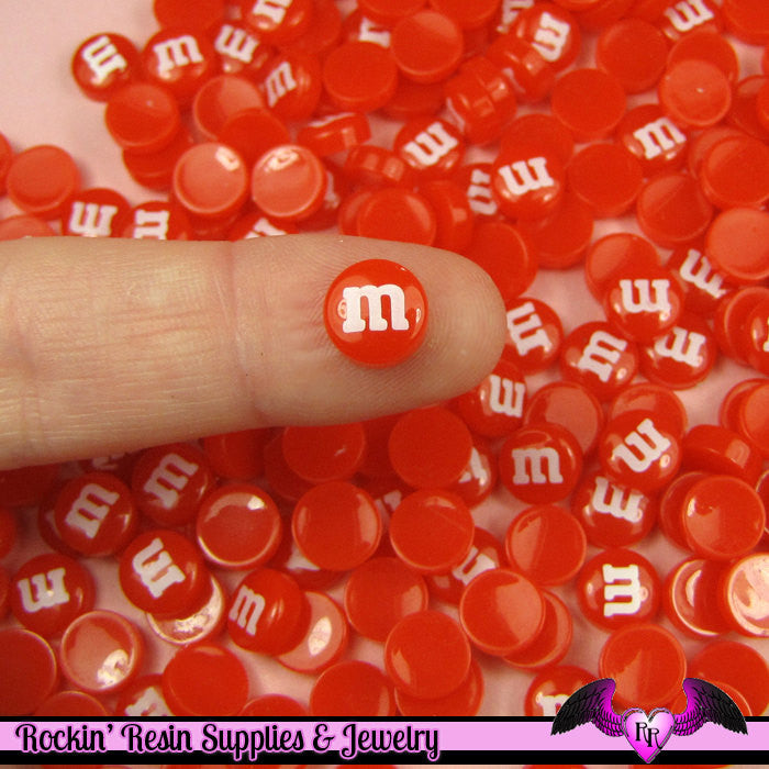 10 pcs Mini Red M&M Candy Nail Art Resin Kawaii Flatback Cabochons 8mm