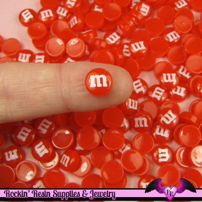 10 pcs Mini Red M&M Candy Nail Art Resin Kawaii Flatback Cabochons 8mm - Rockin Resin
