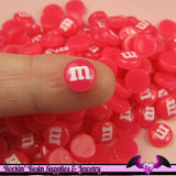 10 pcs Mini Jelly Pink M&M Candy Nail Art Resin Kawaii Flatback Cabochons 8mm - Rockin Resin