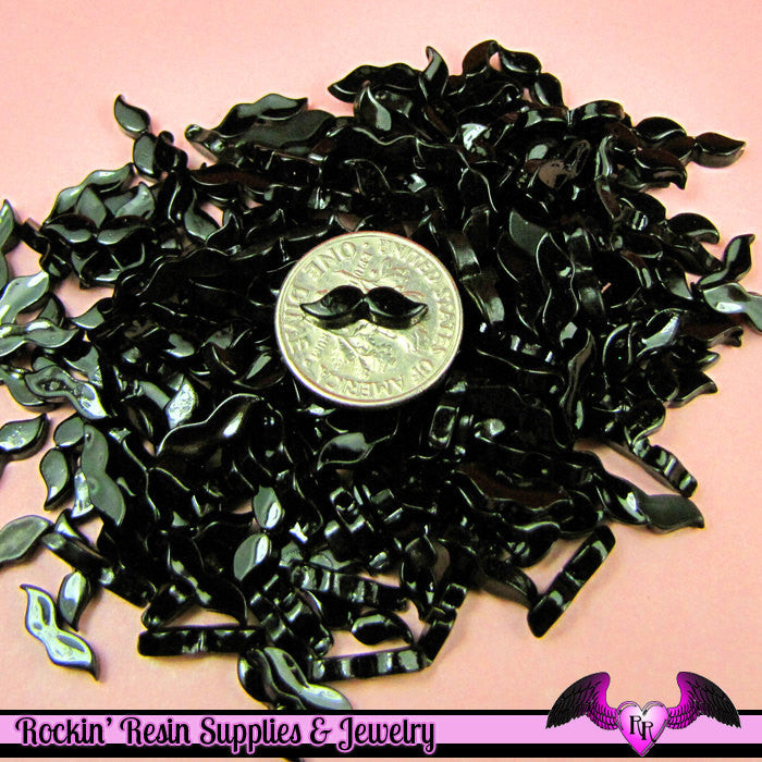 10 pcs Nail Art BLACK MUSTACHE Tiny Resin Kawaii Flatback Cabochons 12x3mm - Rockin Resin