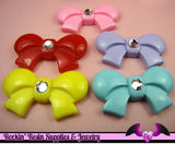 5 pcs Large Bows with Rhinestone Kawaii Decoden Cabochons 41x23mm - Rockin Resin