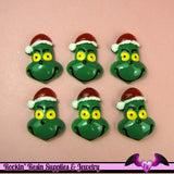 GREEN CARTOON Character with SANTA HaT Resin Flatback Decoden Kawaii Cabochon 28x20mm (4 pieces) - Rockin Resin  - 1