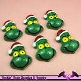 GREEN CARTOON Character with SANTA HaT Resin Flatback Decoden Kawaii Cabochon 28x20mm (4 pieces) - Rockin Resin  - 2