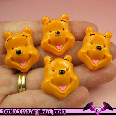 4 pc BEAR Cartoon   Resin Flatback Decoden Kawaii Cabochons 28x21mm - Rockin Resin