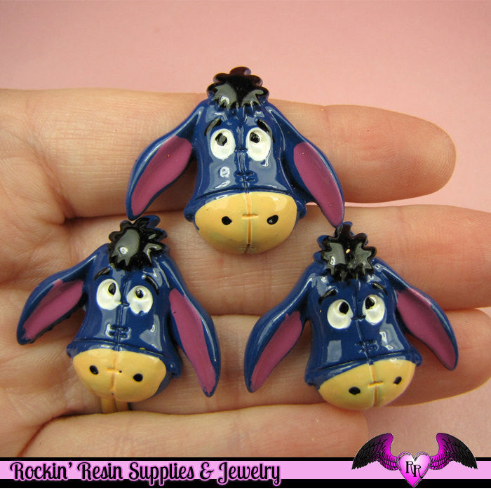 4 pc Cartoon Donkey Resin Flatback Decoden Kawaii Cabochons 27x32mm - Rockin Resin