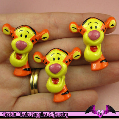 4 pc Cartoon Tiger   Resin Flatback Decoden Kawaii Cabochons 28x32mm - Rockin Resin