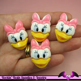 4 pc Pink Cartoon DUCK  Resin Flatback Decoden Kawaii Cabochons 30x21mm - Rockin Resin
