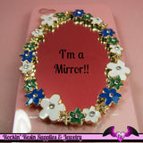 FLOWER MIRROR Blue and Green with Crystals Decoden Cellphone Decoration - Rockin Resin  - 2