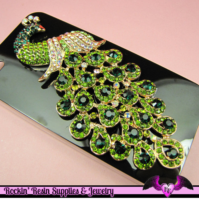 Green XL PEACOCK Rhinestone Bird Decoden Cellphone Decoration