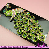 Green XL PEACOCK Rhinestone Bird Decoden Cellphone Decoration - Rockin Resin  - 1