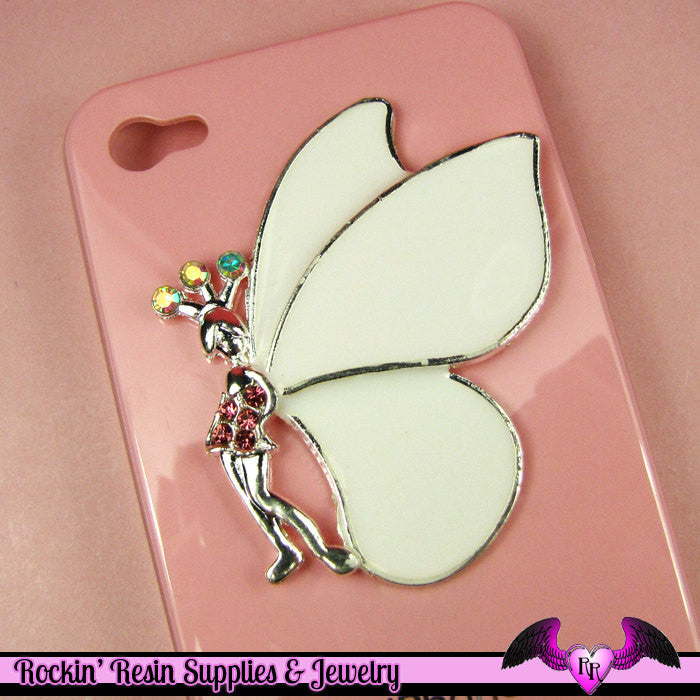 XL FAIRY with White Wings and Crystals  Decoden Cabochon Cell phone Decoration - Rockin Resin  - 1