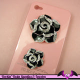 2 pc Black Enamel and Crystals Roses Decoden Cellphone Cabochon Decoration - Rockin Resin  - 2