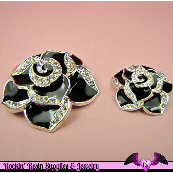 2 pc Black Enamel and Crystals Roses Decoden Cellphone Cabochon Decoration - Rockin Resin  - 1