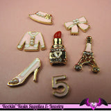 GIRLY 7pc PINK CABOCHONS Lipstick, Eiffel Tower, High Heel Shoe, Bow, Bonnet, Blouse, and Five Enamel Alloy Decoden Cell phone Decorations - Rockin Resin  - 1