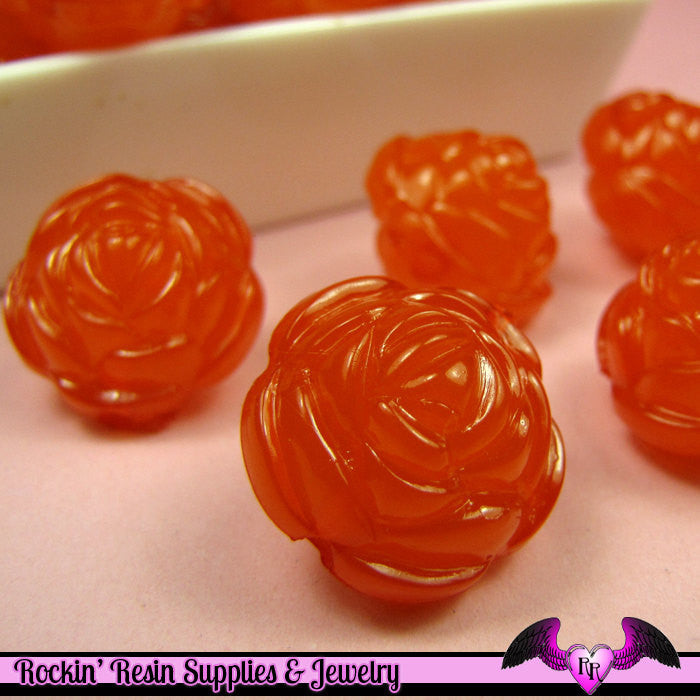 Large Chunky ROSE FLOWER Acrylic Jelly Beads in Tangerine Orange Color 19mm
