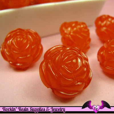 Large Chunky ROSE FLOWER Acrylic Jelly Beads in Tangerine Orange Color 19mm - Rockin Resin  - 1