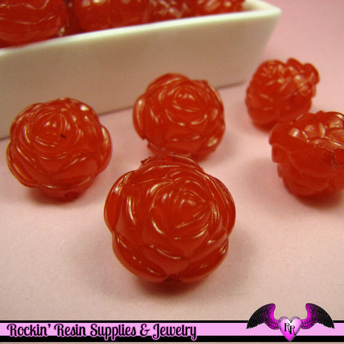 Large Chunky ROSE FLOWER Acrylic Jelly Beads in Flame Red Color 19mm