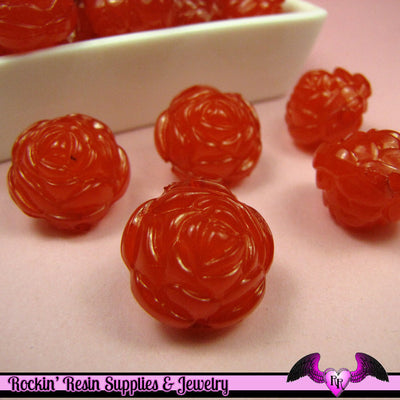 Large Chunky ROSE FLOWER Acrylic Jelly Beads in Flame Red Color 19mm - Rockin Resin  - 1