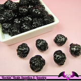 Large Chunky ROSE Flower Acrylic Jelly Beads in LiCORICE BLACK Color 19mm - Rockin Resin  - 2