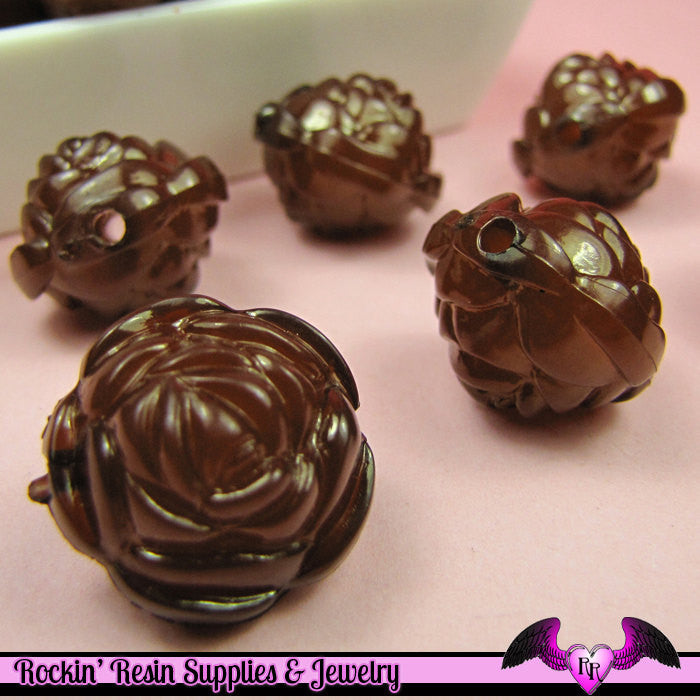 Large Chunky ROSE Flower Acrylic Jelly Beads in RoOTBEeR BROWN Color 19mm