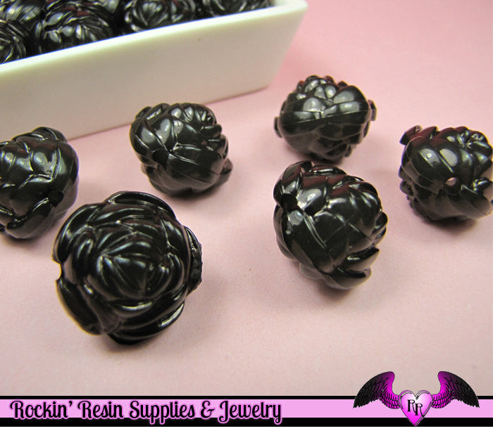 Large Chunky ROSE Flower Acrylic Jelly Beads in LiCORICE BLACK Color 19mm