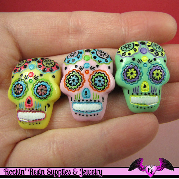 3 pc SUGAR SKULL Day of The Dead Flatback Decoden Cabochons 20x17mm