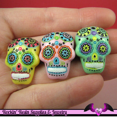 3 pc SUGAR SKULL Day of The Dead Flatback Decoden Cabochons 20x17mm - Rockin Resin