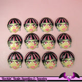 5 pc VAMPIRE GIRL Vamp Girl Head Flatback Decoden Cabochons 28x25mm - Rockin Resin  - 2
