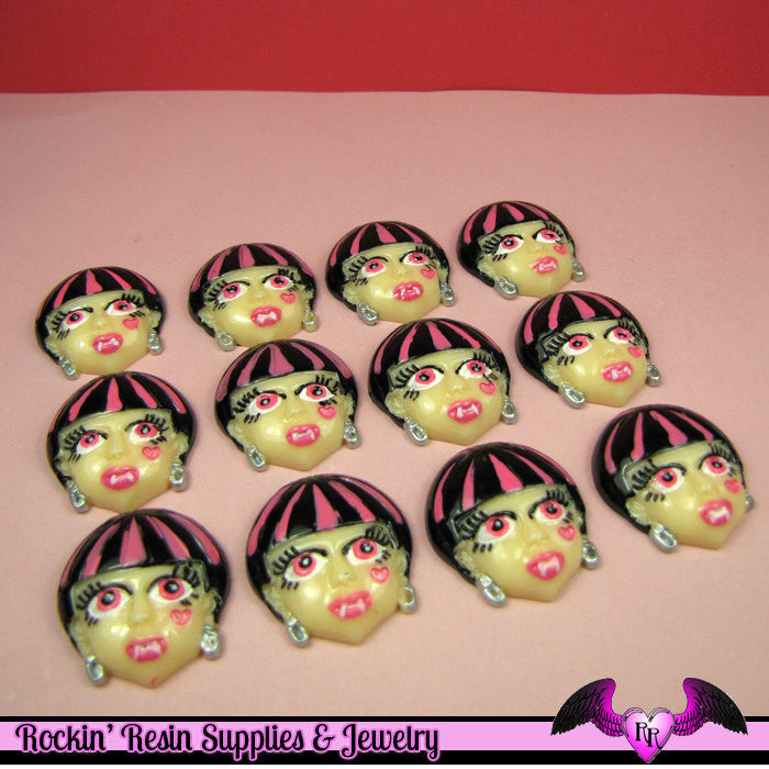 5 pc VAMPIRE GIRL Vamp Girl Head Flatback Decoden Cabochons 28x25mm - Rockin Resin  - 1