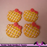 4 pcs WAFFLE COOKIE with Bow Kawaii Resin Decoden Flatback Cabochon 30x28mm - Rockin Resin  - 2