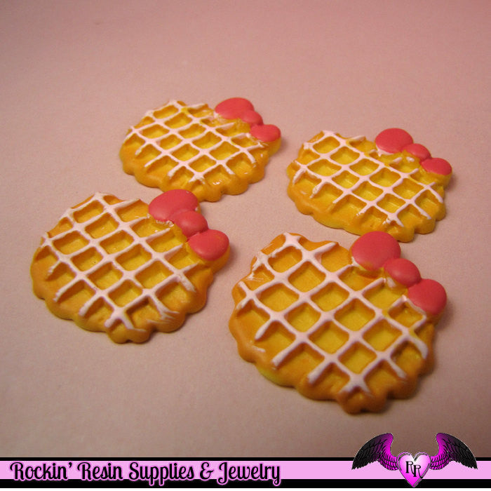 4 pcs WAFFLE COOKIE with Bow Kawaii Resin Decoden Flatback Cabochon 30x28mm - Rockin Resin  - 1