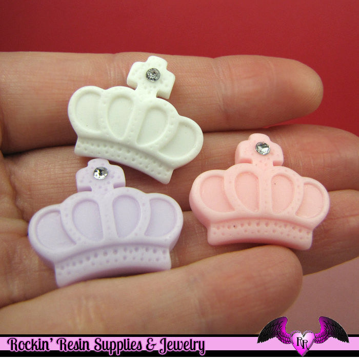 4 pcs CROWN with CRYSTAL  Pastel  Kawaii Resin Decoden Flatback Cabochon 25x21mm - Rockin Resin