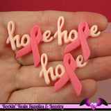 4 pcs HOPE PINK RIBBON Breast Cancer Awareness Resin Decoden Flatback Cabochons 29x31mm - Rockin Resin