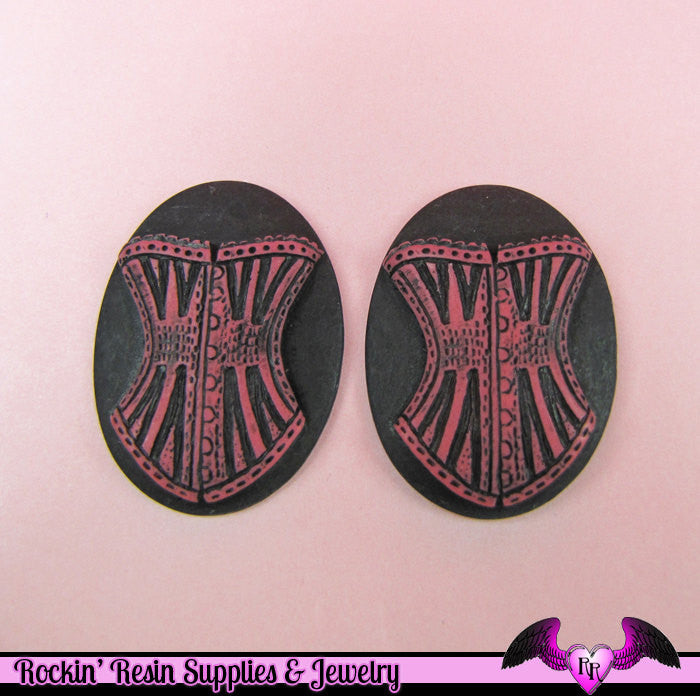 2 pc VICTORIAN CORSET CAMEOS in Pink to Red and Black Resin Cameos 30x40mm Cabochons