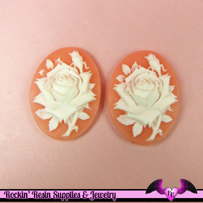 2 pc WHITE ROSE Vintage Style 30x40mm PINK MeLON Resin Cameos Flatback Cabochons - Rockin Resin