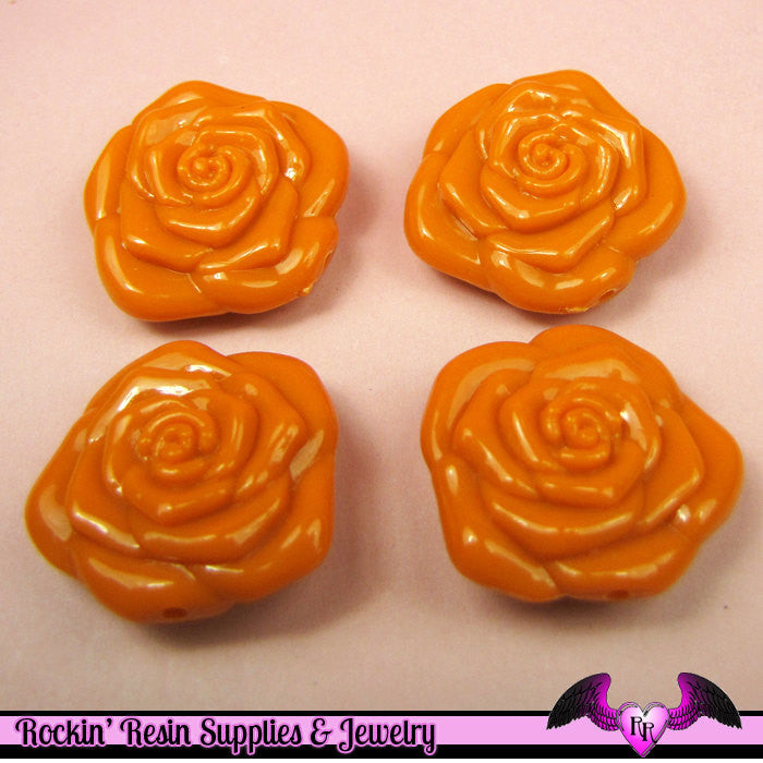 8 pc ORANGE ROSE BEADS Large DOuBLE SIDeD Acrylic Beads 31mm
