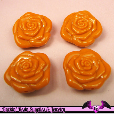 8 pc ORANGE ROSE BEADS Large DOuBLE SIDeD Acrylic Beads 31mm - Rockin Resin  - 1