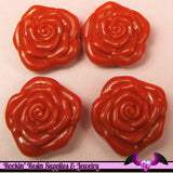 8 pc RED ROSE BEADS Large DOuBLE SIDeD Acrylic Beads 31mm - Rockin Resin  - 1