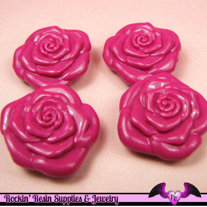 8 pc MAGENTA Plum ROSE BEADS Large DOuBLE SIDeD Acrylic Beads 31mm