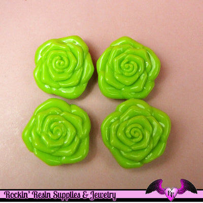 8 pc Lime GREEN ROSE BEADS Large DOuBLE SIDeD Acrylic Beads 31mm - Rockin Resin  - 1