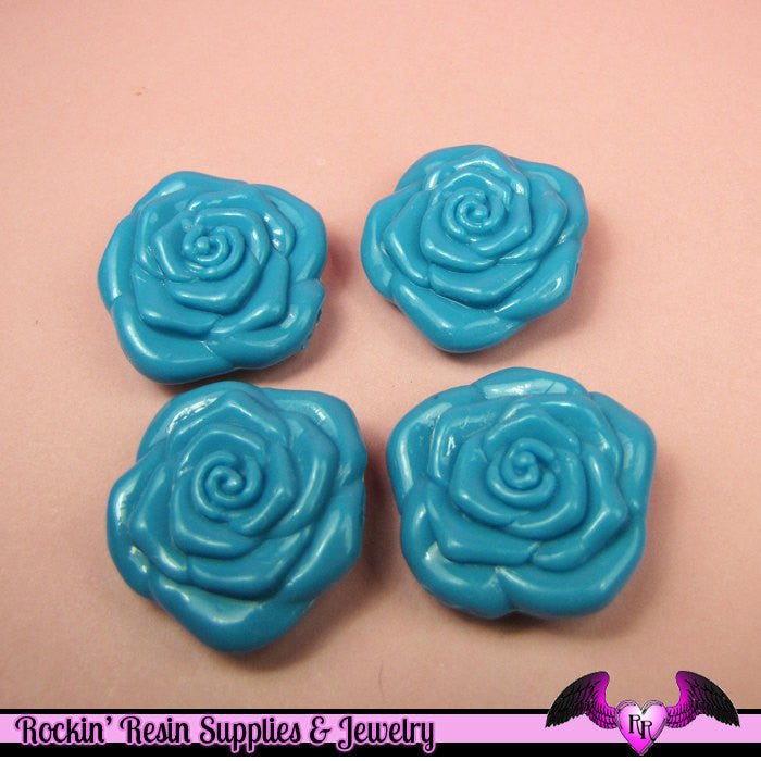8 pc BLUE ROSE BEADS Large DOuBLE SIDeD Acrylic Beads 31mm