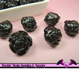 25 pc ROSE Flower Acrylic Jelly Beads in LICORICE BLACK Color 14mm - Rockin Resin  - 2