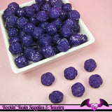25 pc ROSE Flower Acrylic Jelly Beads in GRAPE PURPLE Color 14mm - Rockin Resin  - 1