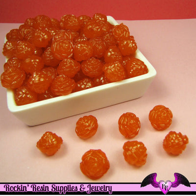 25 pc ROSE Flower Acrylic Jelly Beads in Tangerine Orange Color 14mm - Rockin Resin  - 1