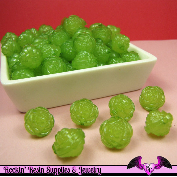25 pc ROSE Flower Acrylic Jelly Beads in LIME GREEN Color 14mm
