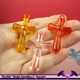 FACETED CROSS Acrylic Pendants or Charms 45mm (5 Pieces) - Rockin Resin  - 3