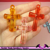 FACETED CROSS Acrylic Pendants or Charms 45mm (5 Pieces) - Rockin Resin  - 2
