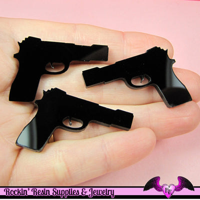 3 pc Black HAND GUN PISTOL Flatback Decoden Cabochons 37x25mm - Rockin Resin  - 1