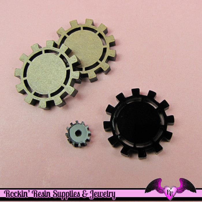 5 pc Black GEARS STEAMPUNK Flatback Decoden Cabochons